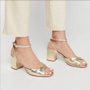 FREE PEOPLE Gisele Twist Gold Leather Sandal 37